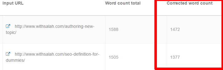 corrected word count